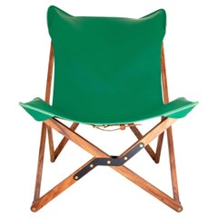 Humphrey Chair, Pecan Wood and Leather Folding Chair 'Green'