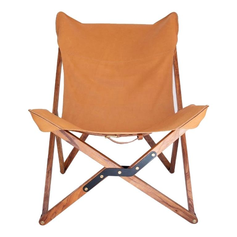 Humphrey Chair, Pecan Wood and Leather Folding Chair 'Tan' For Sale