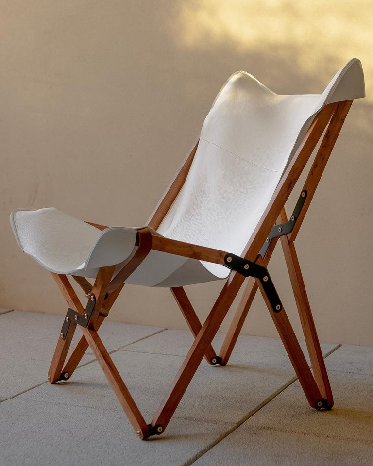 Organic Modern Humphrey Chair, Pecan Wood and Leather Folding Chair 'White' For Sale