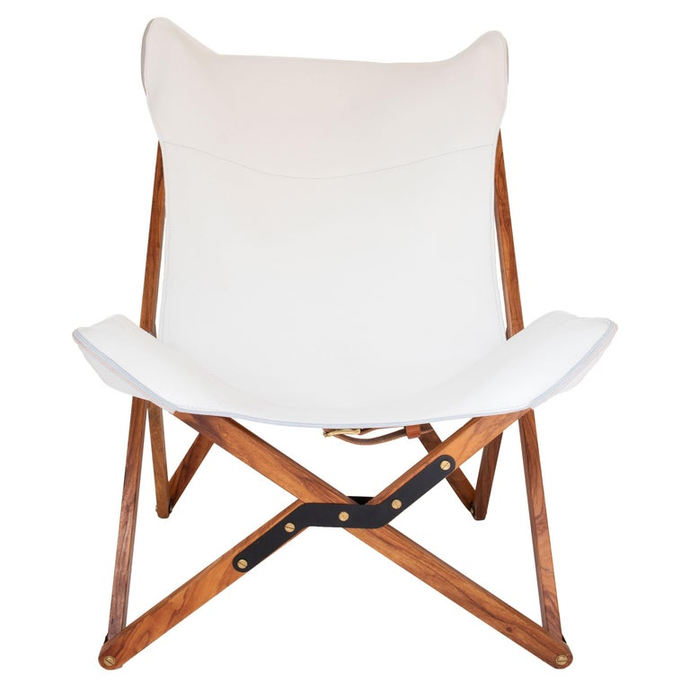 Humphrey Chair, Pecan Wood and Leather Folding Chair 'White' For Sale