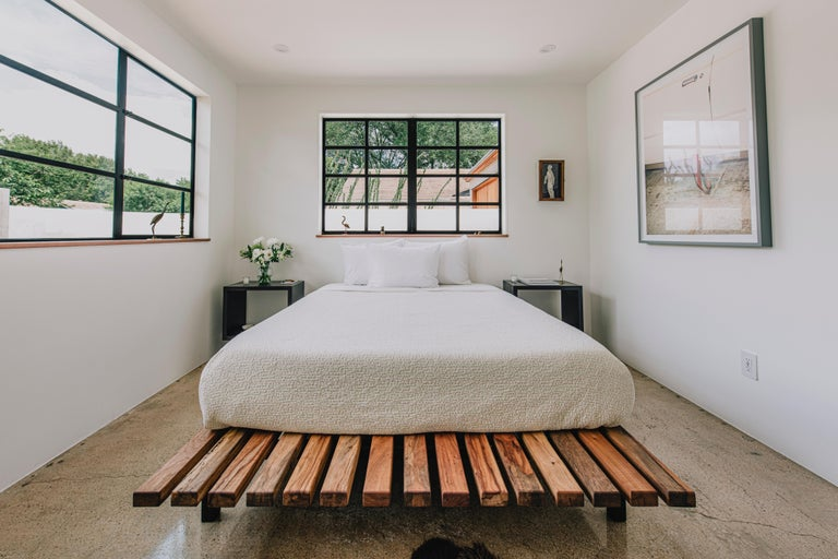 Organic Modern Humphreys Queen Size Slat Bed, American Pecan Wood with Carbon Steel Base For Sale