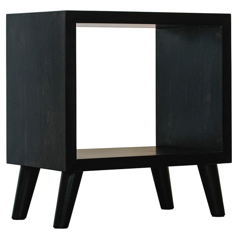 Humphreys Side Table, Nightstand, American Pecan Wood with Cutout Center For Sale