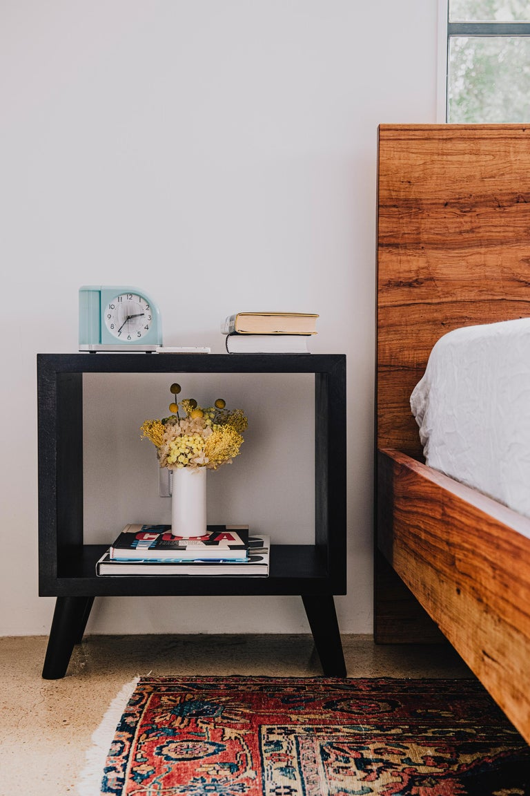 Mid-Century Modern Humphreys Side Table, Nightstand, American Pecan Wood with Cutout Center For Sale