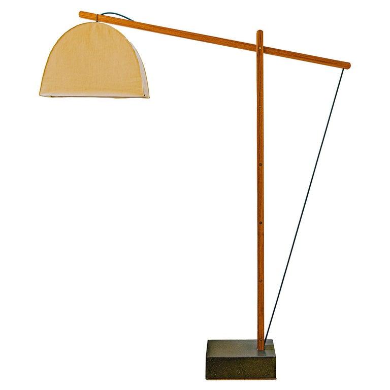 Humphreys Skye Floor Lamp Canvas Shade and American Pecan Wood Base For Sale