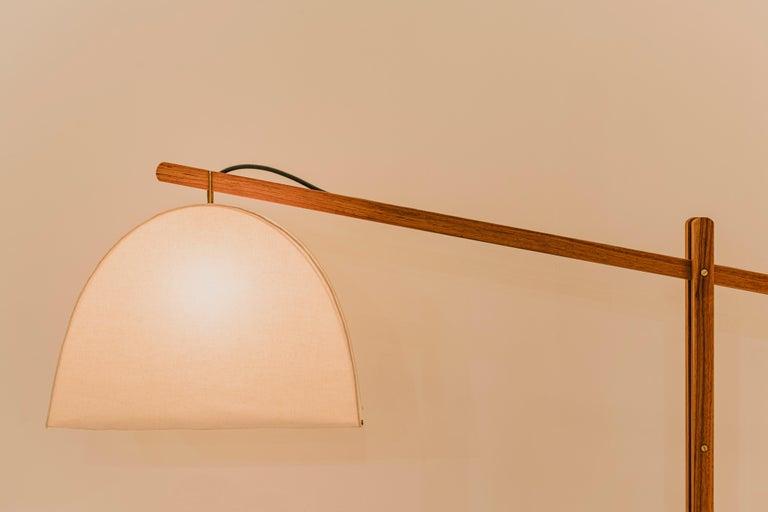 Organic Modern Humphreys Skye Floor Lamp Canvas Shade and American Pecan Wood Base For Sale
