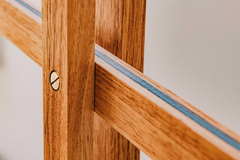 Woodwork Humphreys Skye Floor Lamp Canvas Shade and American Pecan Wood Base For Sale