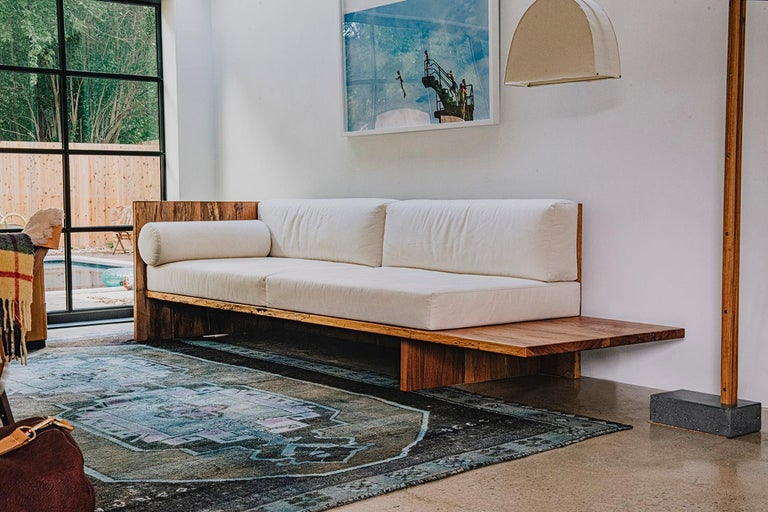 The Humphreys sofa draws inspiration from the organic minimalism of Donald Judd's daybed. The shape is left open on the right side, designed to be intentionally long for two people to lay comfortably. It follows the same ethos as the brand's Taylor
