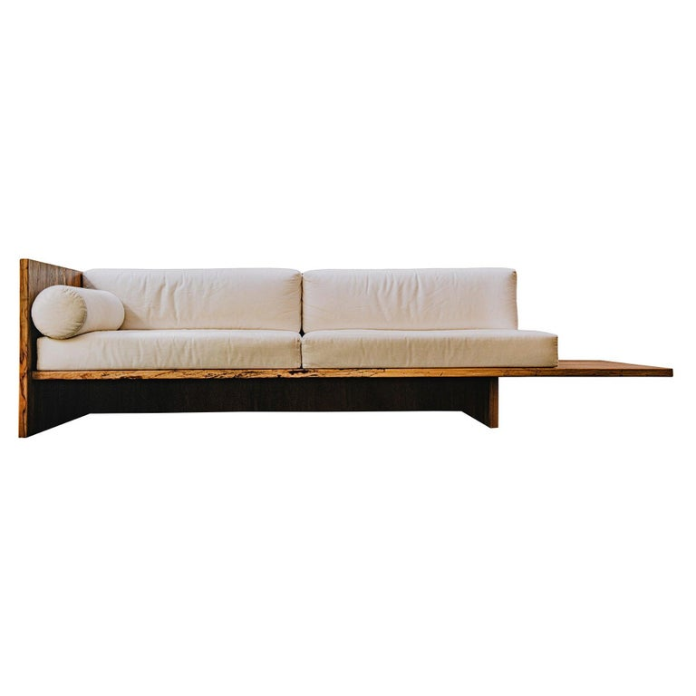 Humphreys Sofa, Solid American Pecan Slab Frame with Extended Shelf For Sale