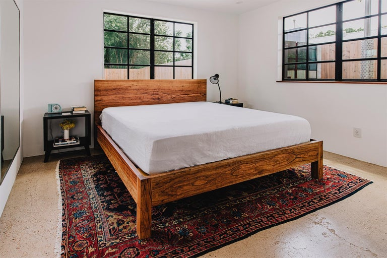 Organic Modern Humphreys Taylor King Size Bed, Solid American Pecan Slab Bed For Sale