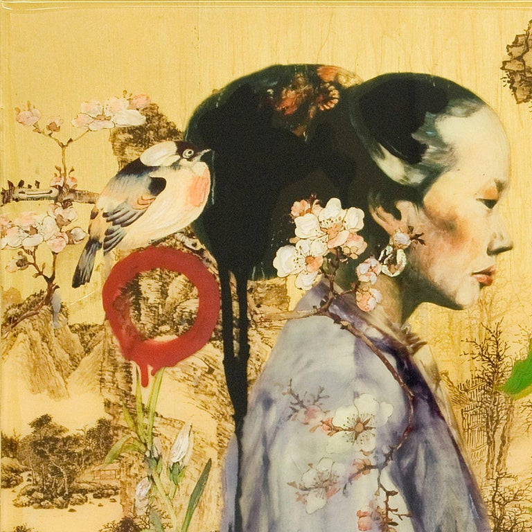 Mountain Lady IV is part of artist Hung Liu's dialogue between past and present. It incorporates traditional Chinese imagery with Chinese historical imagery, as well as the artist's personal marks.