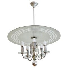 Hungarian Art Deco Bauhaus Style Round Chrome-Glass Chandelier from 1930s