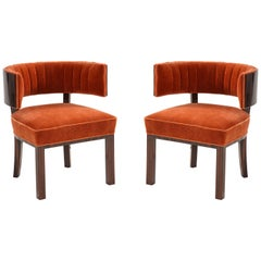 Hungarian Art Deco Macassar Ebony Club Chairs