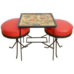 Hungarian Ceramic Side Table and Pair of Red Stools