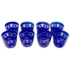 Hungarian Crystal Handcut Cobalt Blue Glasses Set of 8