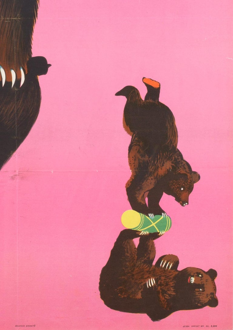 Hungarian, Cyrk, Circus Poster, 1967, Vintage, Armenian Bears, Sandor In Excellent Condition In Bath, Somerset
