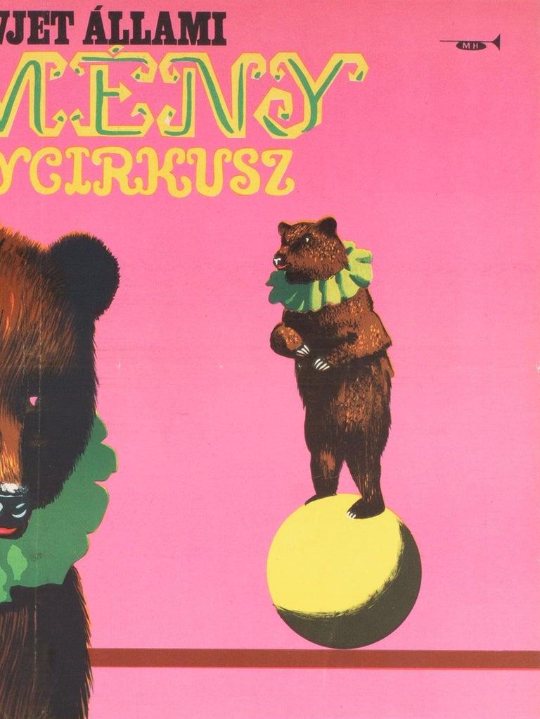 20th Century Hungarian, Cyrk, Circus Poster, 1967, Vintage, Armenian Bears, Sandor