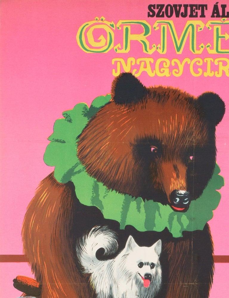 Paper Hungarian, Cyrk, Circus Poster, 1967, Vintage, Armenian Bears, Sandor