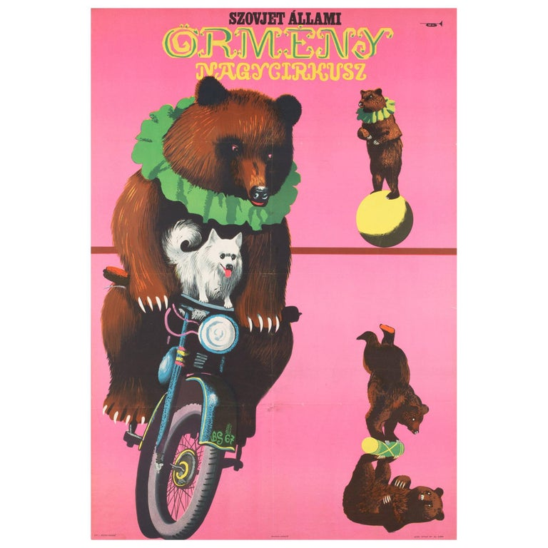 Hungarian, Cyrk, Circus Poster, 1967, Vintage, Armenian Bears, Sandor