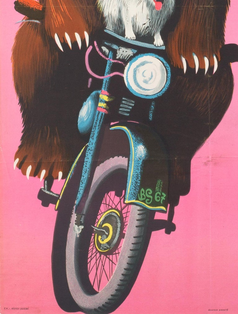 A fantastic, crazy and original vintage Hungarian poster from 1967 advertising the Russian Circus. featuring fun artwork by Benko Sandor of some super talented Armenian Bears!  This vintage poster is sized 22 x 32 inches. It was originally folded
