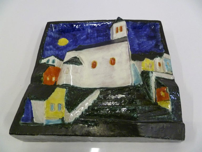 More known as Cseko, Csekovszky Arpad 1931-1997, the noted Hungarian artist was famous for these ceramic or pottery wall hangings in relief of village scenes. Their three dimensional form is exciting and alluring. Wired for hanging. Csekovszky Árpád