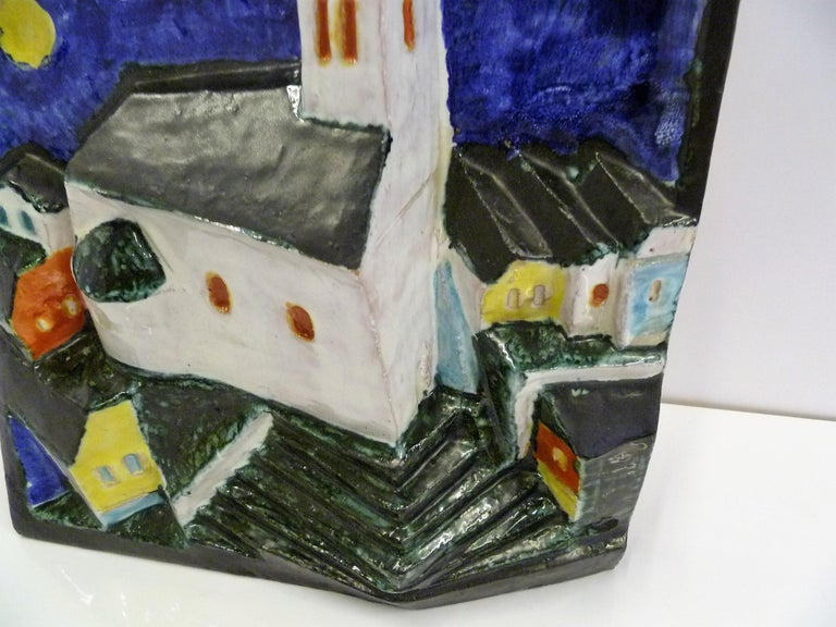 Hungarian Full Moon Village Scene Wall Sculpture Signed Cseko In Good Condition For Sale In Miami, FL