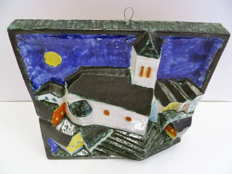 Late 20th Century Hungarian Full Moon Village Scene Wall Sculpture Signed Cseko For Sale