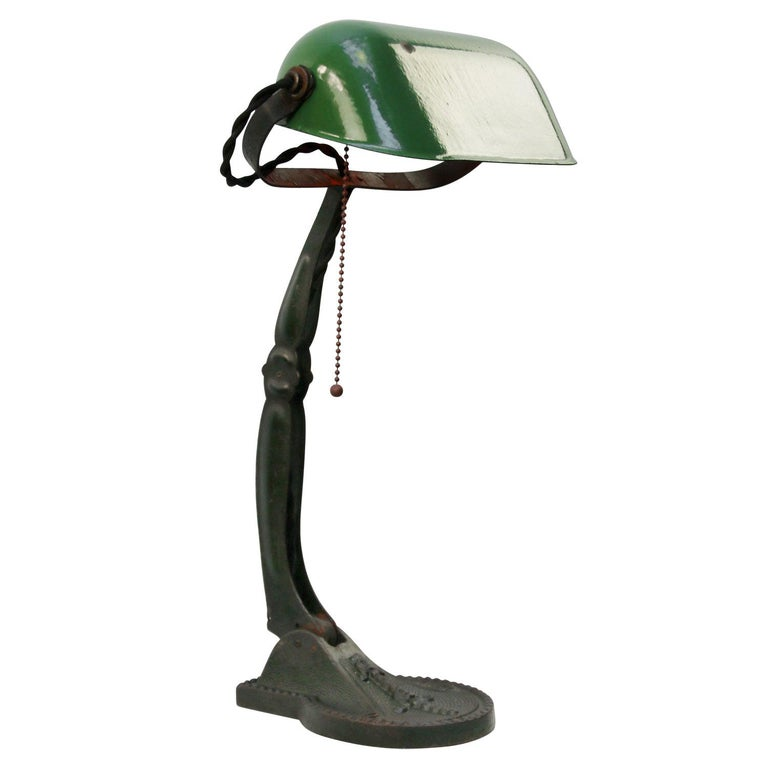 Hungarian Green Enamel Vintage Industrial Work Light Table Desk Light