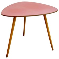 Hungarian Midcentury Pink and Beechwood Coffee Table with Formica Top