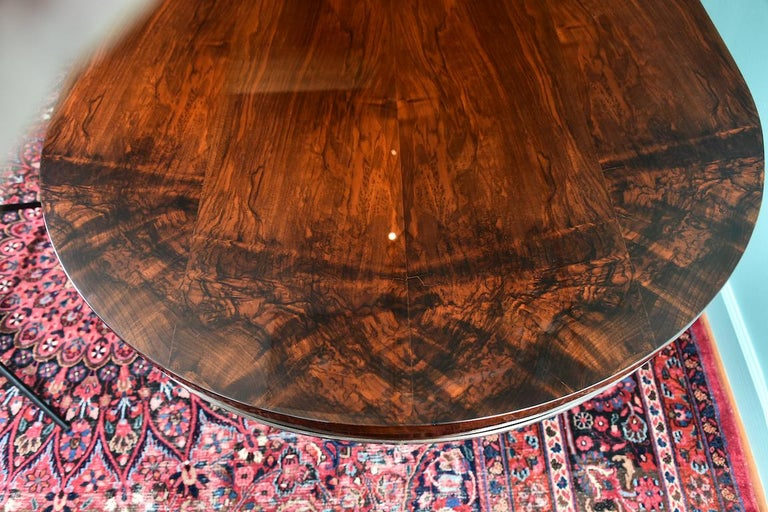 Mid-20th Century Hungarian Oval Dining Room Table in Walnut, Art Deco Period For Sale