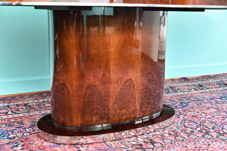 Chrome Hungarian Oval Dining Room Table in Walnut, Art Deco Period