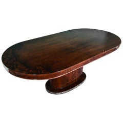 Hungarian Oval Dining Room Table in Walnut, Art Deco Period