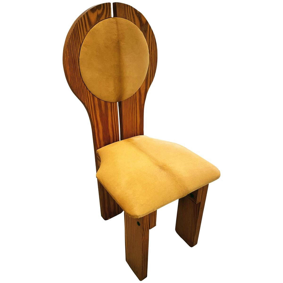 Hungarian Ponyskin Upholstered Studio Craft Chair in Organic Design, 1970