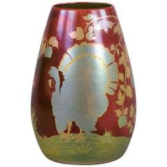 Hungarian Porcelain Eosin Glazed Bird Vase, Zsolnay, circa 1900