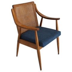 Vintage Mid-Century Modern Cane Back Armchair Hungary 1960s