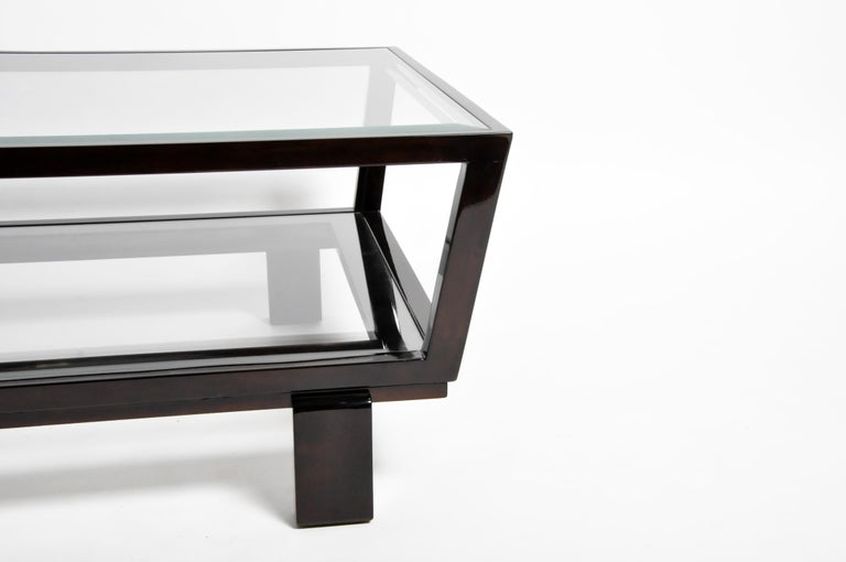 Hungarian Solid Beechwood and Glass Coffee Table For Sale 6