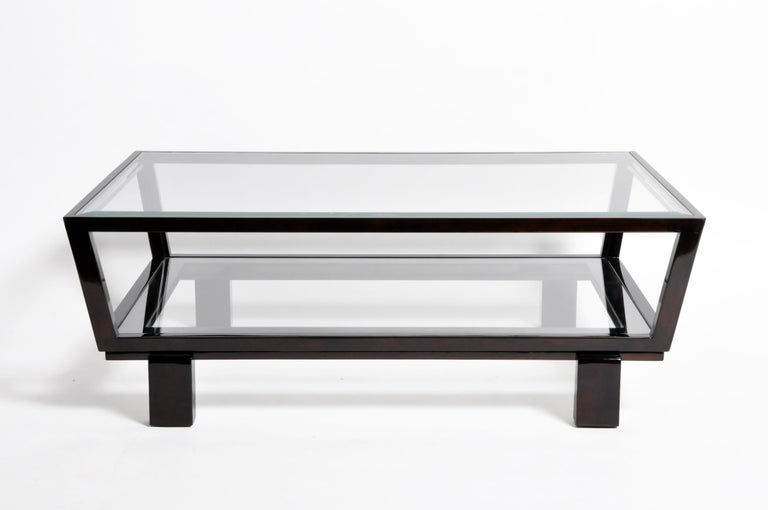 Hungarian Solid Beechwood and Glass Coffee Table In Good Condition For Sale In Chicago, IL