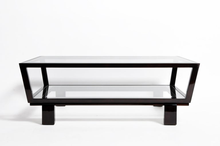 Contemporary Hungarian Solid Beechwood and Glass Coffee Table For Sale