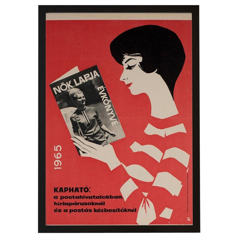 Hungarian Womens' Newspaper Yearbook Advertising Poster, 1964, Balogh For Sale