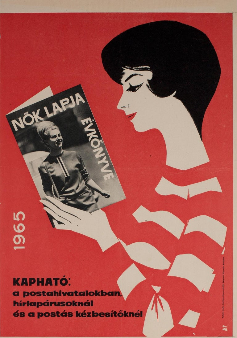 A rare and wonderful Hungarian advertising poster from 1964 to advertise the Nok Lapja Yearbook, Women's Newspaper, 1965. Fabulous design by Istvan Balogh.  This original vintage poster is sized 18 3/4 x 26 5/8 inches and in near mint/mint