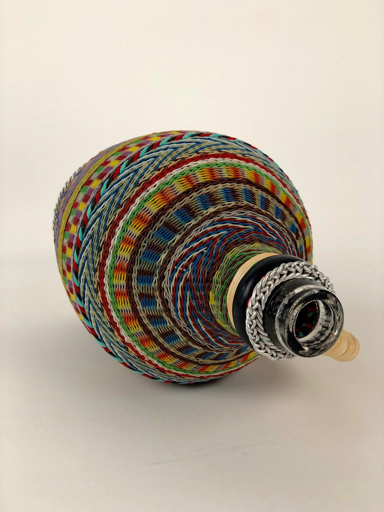 Hungarian Woven Wire Bottle, 1960 For Sale 1