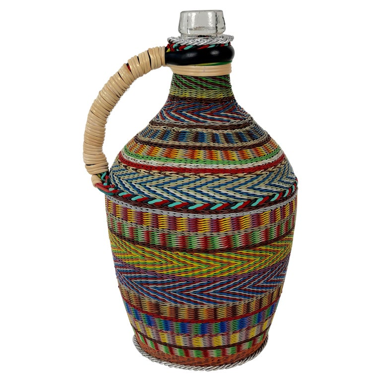 Hungarian Woven Wire Bottle, 1960 For Sale