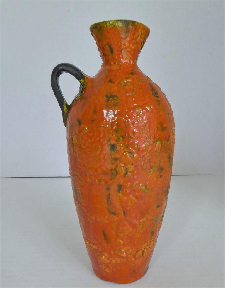 Mid-Century Modern Hungary 60s-70s Heavy Lava Glaze Ceramic Modern Ewer in Bright Orange For Sale