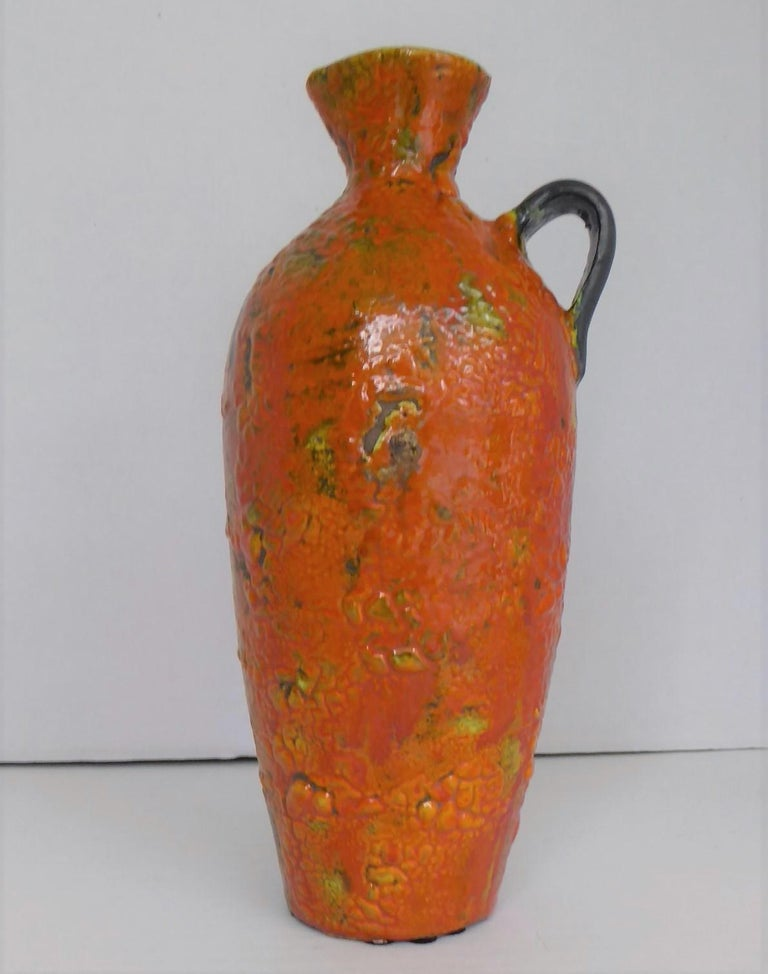 Glazed Hungary 60s-70s Heavy Lava Glaze Ceramic Modern Ewer in Bright Orange For Sale