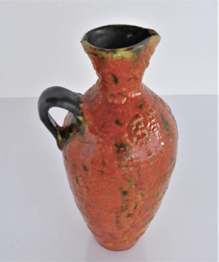 Hungary 60s-70s Heavy Lava Glaze Ceramic Modern Ewer in Bright Orange For Sale 1