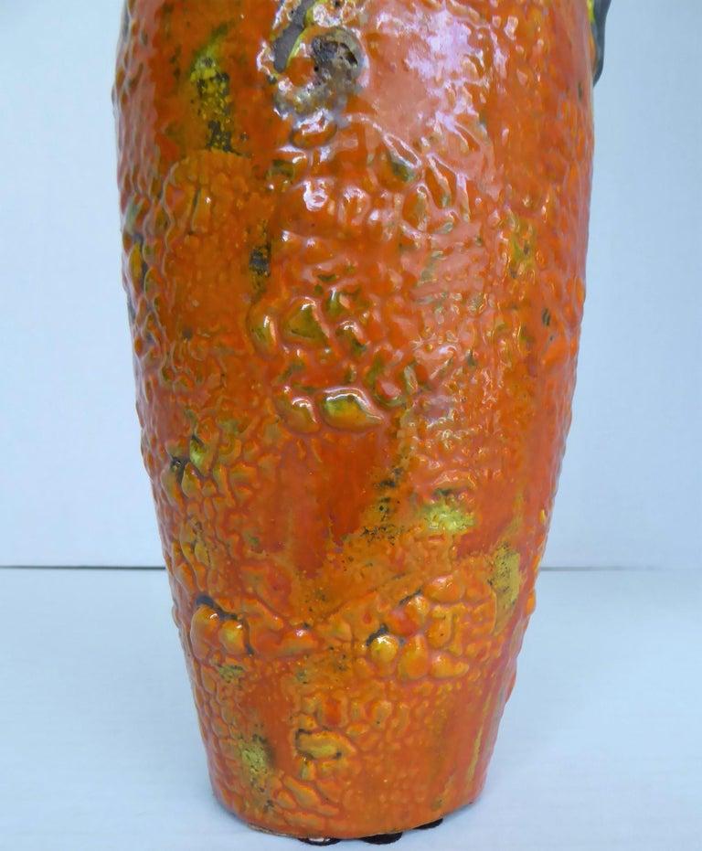 Hungary 60s-70s Heavy Lava Glaze Ceramic Modern Ewer in Bright Orange For Sale 2