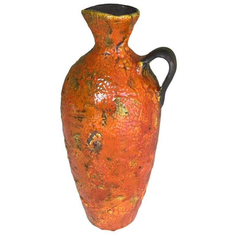 Hungary 60s-70s Heavy Lava Glaze Ceramic Modern Ewer in Bright Orange For Sale