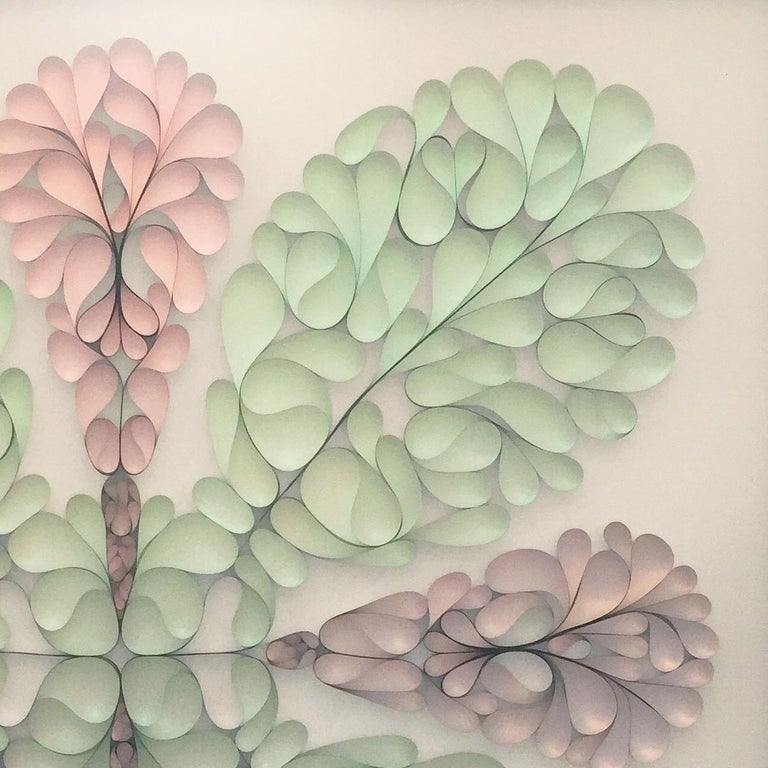 Hunt Rettig is a mixed-media artist based in Aspen, Colorado. His three-dimensional wall sculptures often consist of polyester film, thermoplastic rubber and acrylics that he molds to create organic shapes full of light and dimension placed under