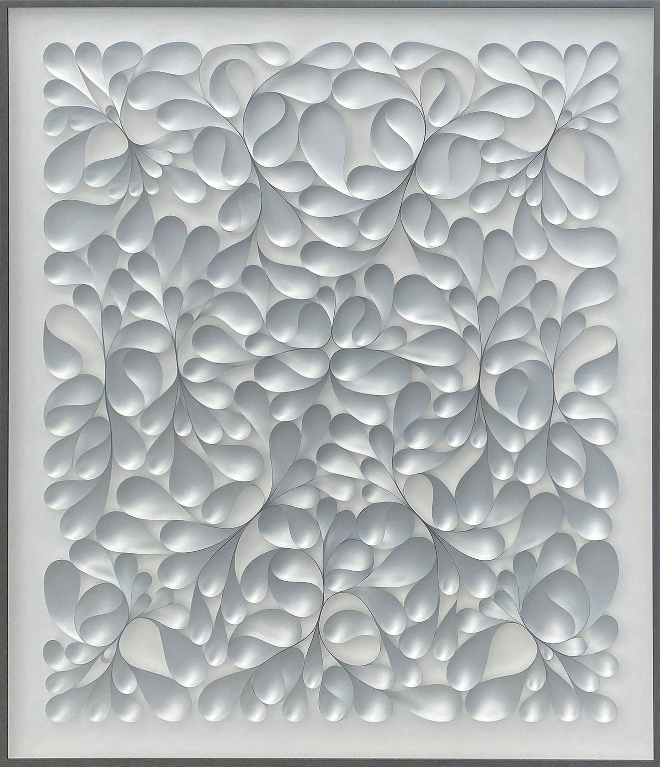 """""""Unfolding World"""" white abstract floral organic mixed media"""