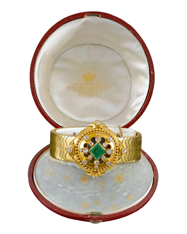 Victorian Hunt & Roskell Emerald and Diamond Bracelet For Sale
