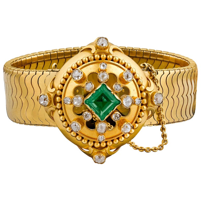 Hunt & Roskell Emerald and Diamond Bracelet For Sale